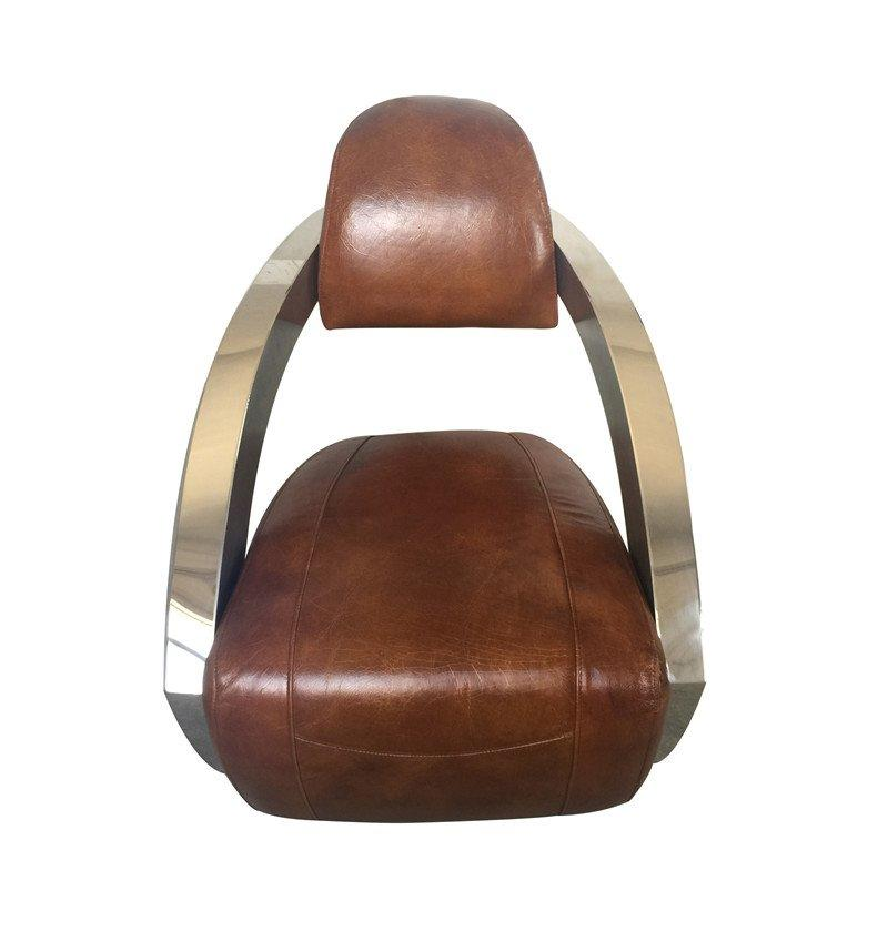 American Industrail style vintage leather stainless steel armchair