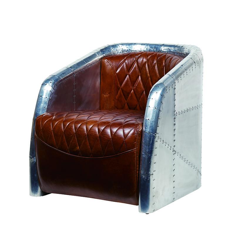 Strong aviator armchair with aluminium back and top grain ox leather cushion