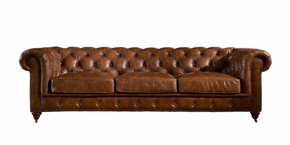 Vintage Deep Button Chesterfield Leather Sofa With Movable ...