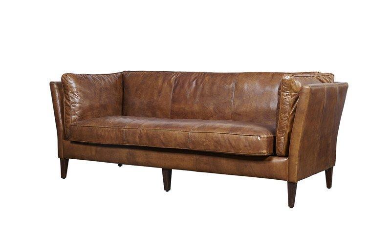 Wooden Frame original color 2seater Vintage Leather Sofa For Home Furniture