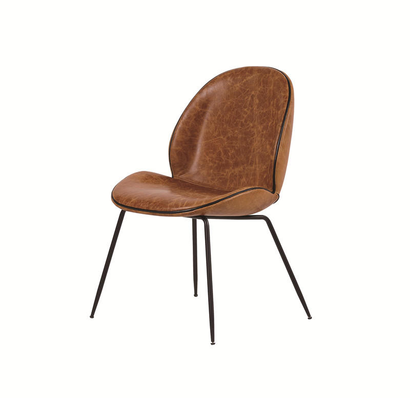 Shell shaped vintage leather dinning chair with metal legs