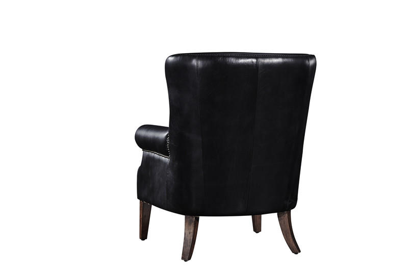 Handmade Black High Back Vintage Leather Armchair For Living Room 5 Years Warranty