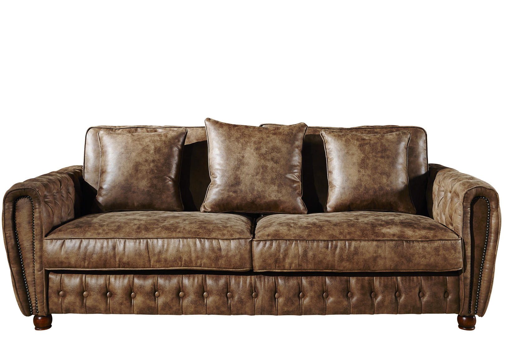 vintage fabric chesterfield sofa with movable cushions and deep buttons