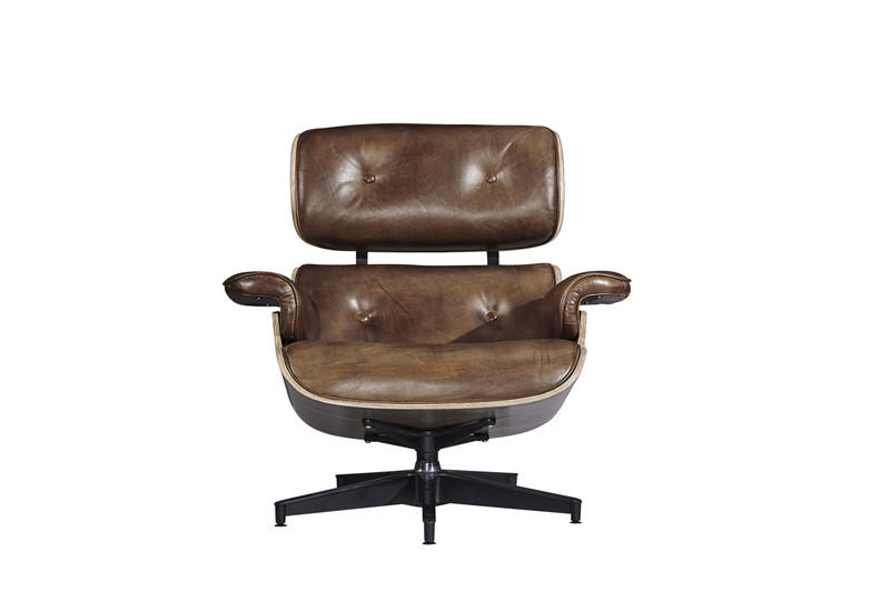 Industrial vintage style top grain leather eams leisure chair with ottaman