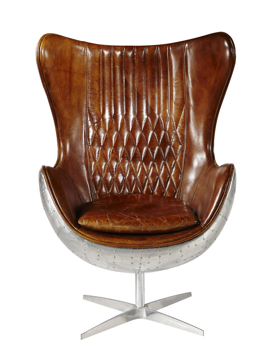 Vintage Top Grian Real Leather Egg Chair For Office Furniture With Aluminium Back