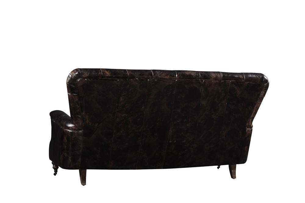 American Industrial High Back Vintage Double Color Three Seater Leather Sofa