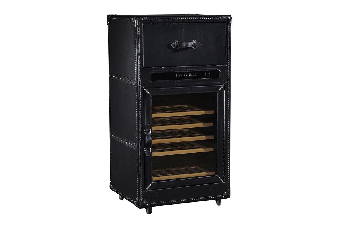 Vintage Black Color Constant Temperature Wine Storage Cabinet With Wheel Legs