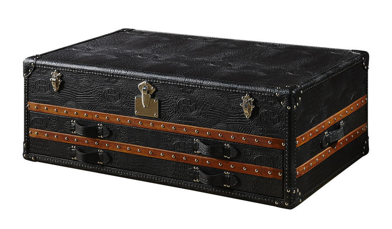 Top Genuine Crocodile Leather Coffee Table Storage Trunk With Solid Wood Bar Decoration