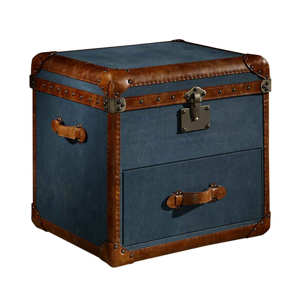 Industrial Vintage Style Military Fabric Storage Trunk With Multi Nailheads & Lifted Cover