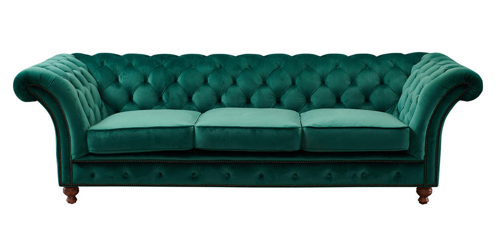 American Style Velvet Fabric Mallard Color Chesterfield Sofa With Big Rolled Armrest