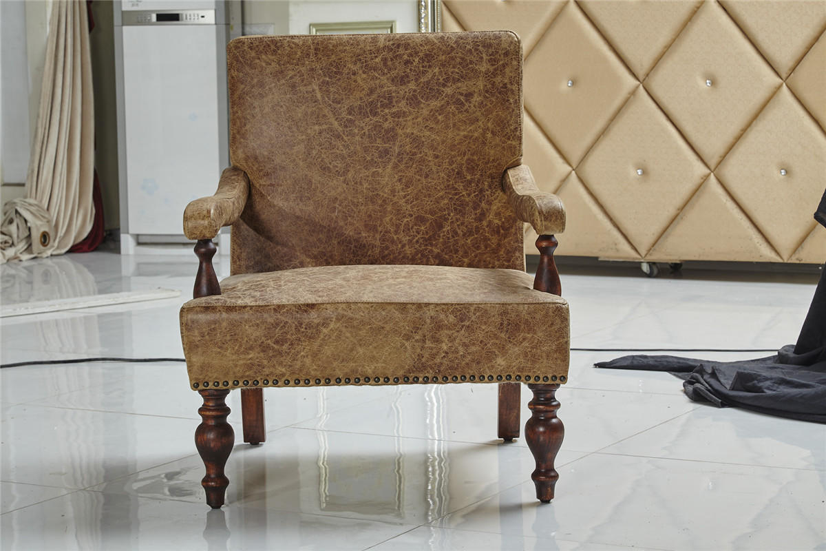 Rustic Top Grain Genuine Leather Arm Chair Comfortable Cushion Living Room Furniture